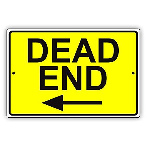簡素な雑貨屋 Dead End Left Arrow 金属スズヴィンテージ安全標識警告サインディスプレイボードスズサインポスター看板