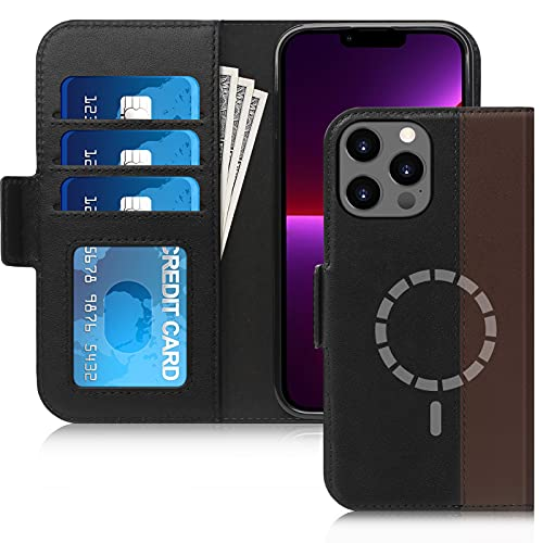 FYY Designed for iPhone 13 Pro 5G Case, [Support Magsafe Charging][Genuine Leather] Wallet Phone Case with Card Holder Protective Shockproof...