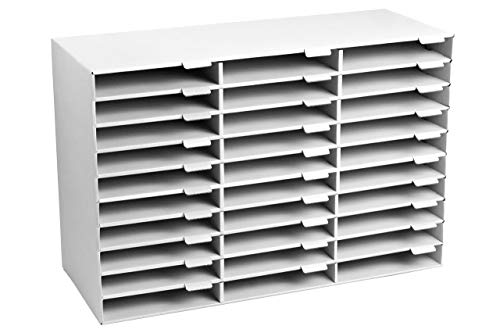 AdirOffice File Sorter Literature Organizer - Mail Vinyl Craft Paper Storage Holder Corrugated Cardboard for Office, Classrooms, and Mailrooms Organization (30 Slots, White)