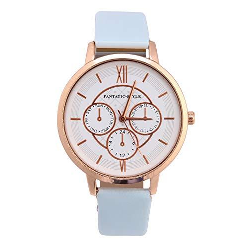 SALUTUY Reloj, 3 esferas pequeñas Relojes de Cuarzo analógicos Banda de Reloj de PU Duradera para Sus Amigos o Familiares(Marco de Oro Rosa Azul Cielo)