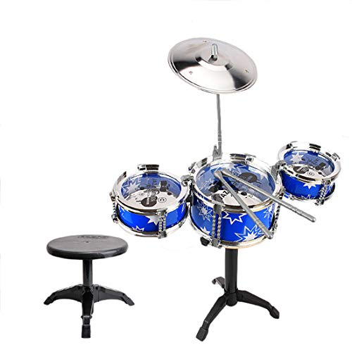 Demarkt Kinderschlagzeug,3-teilige Anfänger Drum Kit Set Drums Becken Musik Spielzeug Instrument mit Hocker