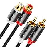 deleyCON 1,5m Cinch Extensión Cable Audio Alta Fidelidad RCA Cable de Audio Extensión Conector de Metal Dorado para Amplificador Sistema Estéreo Cine en Casa Reproductor (Extra Fino y Flexible)