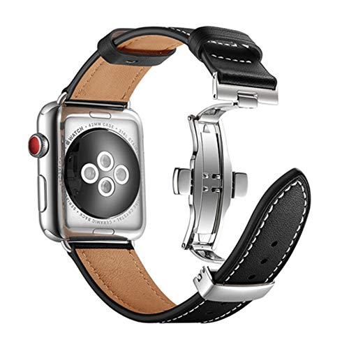 Nywing For Apple watch バンド 本革 Dバックル 40mm 44mm 38mm 42mm アップルウォッチバンド iWatchバンド レザースポーツ 腕時計ベルト プレゼント用 apple watch series6 5 4 3 2