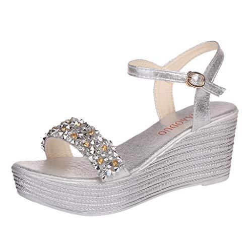 Fannyfuny Sandalias para Mujer | Sandalias Romanas Plana Zapatos de Tacón Medio Zapatos Sandalias con cuña tacón Plataforma Alta con Lentejuelas 5cm-8cm 34-40
