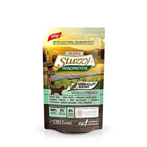 Stuzzy, Monoprotein Grain & Gluten Free, Comida húmeda para Cachorros, Sabor Carne de Ternera Fresca, en paté - Total 1,8 kg (12 Sobres x 150 gr)