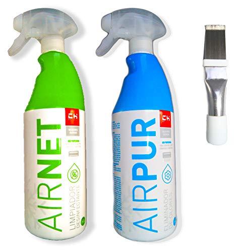 Kit Limpiador aire acondicionado Airpur + Airnet + Peine de aletas. Desinfectante circuitos casa y coche. Spray higenizador mal olor de Split, filtros, conductos, rejillas. Higienizante bactericida.