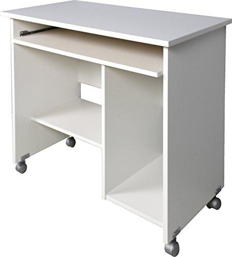 Germania 0482-84 Computertisch auf Laufrollen 0482, in Weiß, 90 x 72 x 48 cm (BxHxT)
