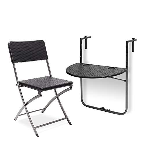 Relaxdays 2 TLG. Sitzgruppe Balkon Bastian, Balkonhängetisch, Klappstuhl, klappbar, Tisch höhenverstellbar, Rattan-Optik, schwarz