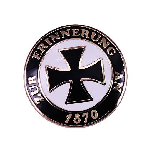 German An Badge Black Cross button Brooch Round Shape Pin Gift
