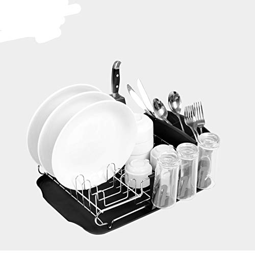 WOSHUAI Single-Layer Dish Rack, Chrome-Plated Iron Wire Household Kitchen Drain Rack, Large-Capacity Countertop Storage And Drying Rack with Cup Holder, Tableware Rack