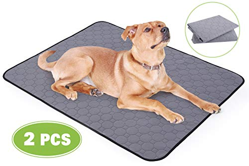 Pecute Haustier Pee Pad (2 STK) Hygieneunterlagen für Hunde Waschbares Wiederverwendbares 4-Schicht-Struktur Starke Wasseraufnahme Auslaufsicher rutschfest, für Katzen und Hund, Größe L (90 * 70 cm)