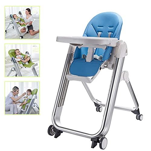 Trona para bebé - Silla de alimentación convertible con bandeja doble extraíble y arnés de seguridad de 5 puntos, respaldo reclinable y plegable, color naranja