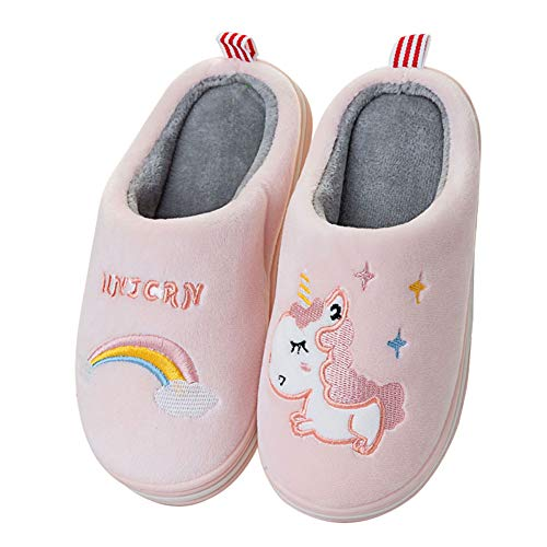 Rojeam Zapatillas de Casa de Peluche para Niños Niñas Pantuflas Antideslizante de Invierno Zapatillas de Esta por Casa Animales
