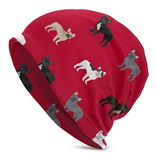 FETEAM Gorro Slouch Beanie, Transpirable, Ligero, Elástico, Suave Gorra de Calavera Perro Bulldog Francés