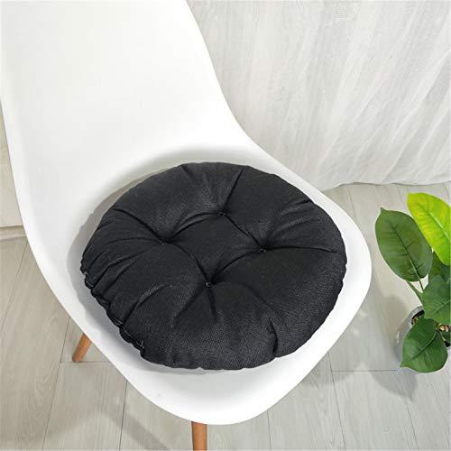 RAILONCH Set di 2 cuscini rotondi per sedie, in lino, per interni ed esterni, colore nero, 45 x 45 x 9 cm
