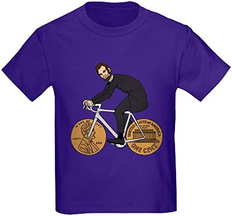 CafePress Abraham Lincoln On A Bike with Penny Wheel T Shirt Kids Cotton T Shirt Purple product image