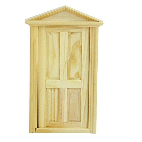 SODIAL 1/12 Casa de Munecas Miniatura del Exterior Hacia El Interior Abierta Puerta de Madera con Steepletop