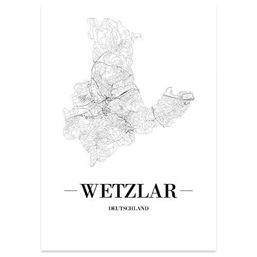 JUNIWORDS Stadtposter, Wetzlar, Wähle eine Größe, 40 x 60 cm, Poster, Schrift A, Weiß