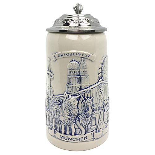 Beer Stein Munich Beer Wagon Stoneware Beer Mug by E.H.G | 1 Liter