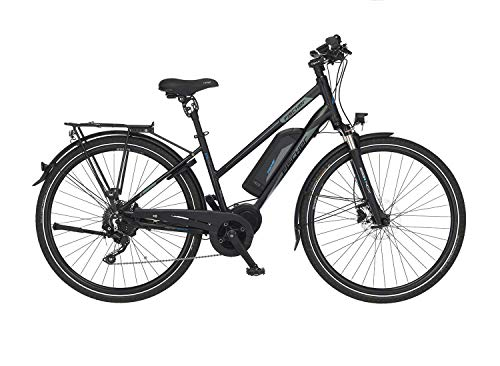 FISCHER Damen - Trekking E-Bike ETD 1861.1, Elektrofahrrad, schwarz matt, 28 Zoll, RH 49, Mittelmotor 80 Nm, 48 V Akku