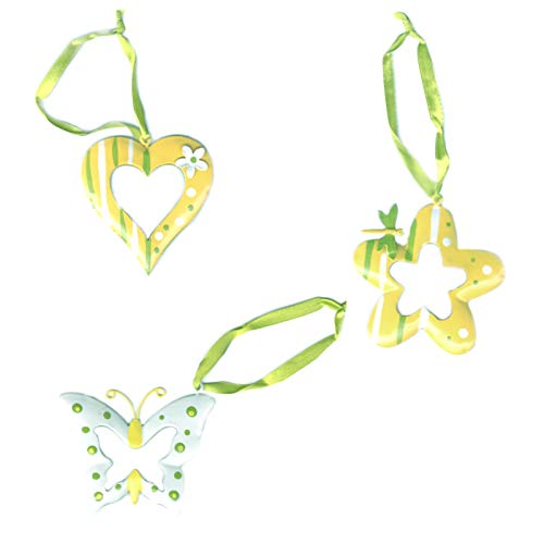 Dekohänger 3er-Set Blume Herz Schmetterling zum Aufhängen Frühling Deko Hänger Anhänger Osterdeko