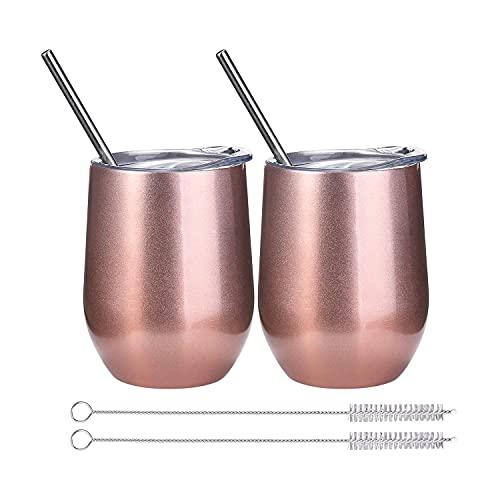 ONMIER 2er-Pack Weinbecher mit Deckel, 12 oz doppelwandiges, vakuumisoliertes Edelstahl-Weinglas ohne Stiel, Reisekaffeetasse mit Strohhalmpinsel für Wein, Getränke, Champagner, Cocktails (Rose Gold)