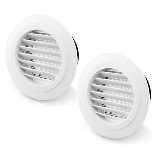 QWORK - 100 mm Rejilla de ventilación de aire ABS con malla integrada para baño, oficina, hogar, 2 unidades