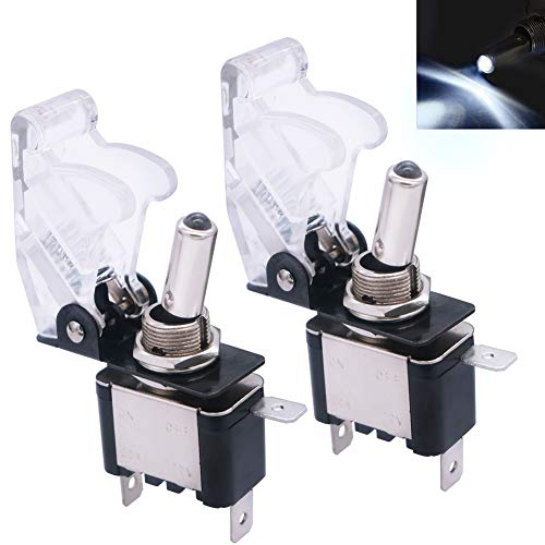 mxuteuk 2pcs Rocker Lighted Toggle Switch, 12V 20A White LED Light Up Toggle Switch Heavy Duty with White Waterproof Cover SPST ON/Off 3Pin for Car Truck Boat ASW-07D-W-WMZ