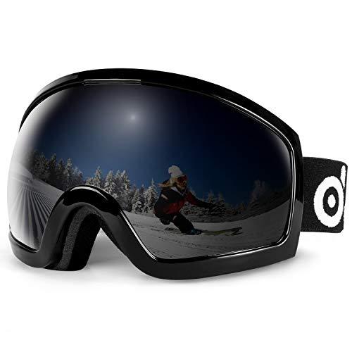 Odoland Skibrille für Männer und Frauen, S2 Over The Glass BZW. für Brillenträger Dual Gläser für Skifahren, Snowboarden, Snowmobile, UV400 Schutz & Anti-Beschlag VLT 7.5% Dunkelgrau(Schwarzer Rahmen)
