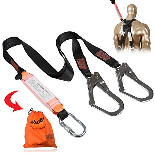 KSEIBI 422006 Single Leg Snap Hook and Two Scaffolding Hook w 6Foot Internal Shock Lanyard Fall Protection Equipment for Safety Harness
