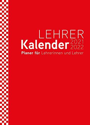 Lehrerplaner, Lehrerkalender 2021/2022 - der Große in DIN A4 - Umschlag:rot