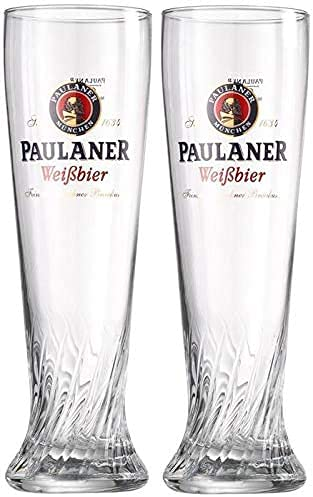 Paulaner Brewery Wheat Weißbier Signature Spiral Glass 0.5 L - Set of 2 Glasses