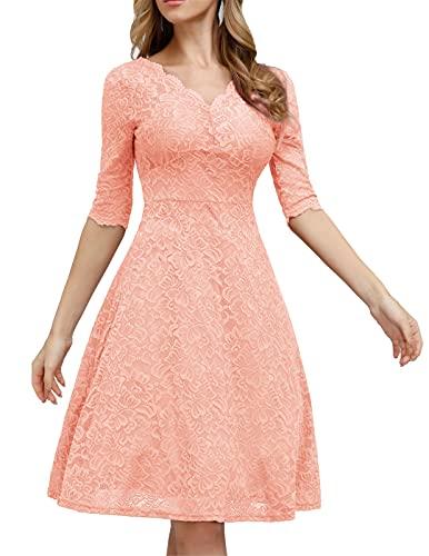 JASAMBAC Cocktailkleid für Frauen, Vintage, Hochzeit, Gäste, Spitze, Midi-Kleid, Party, hellrosa Farbe, Mittel
