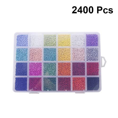 Healifty cuentas de vidrio briolette cuentas de cristal facetado espaciador cuentas sueltas con caja de contenedor para manualidades de bricolaje fabricación de bisutería 2 mm 24000 piezas