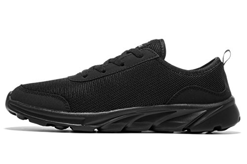 newluhu Men's Running Shoes Fashion Sneakers Breathable Mesh Soft Sole Casual Athletic Lightweight (9.5US/43EU, Black)