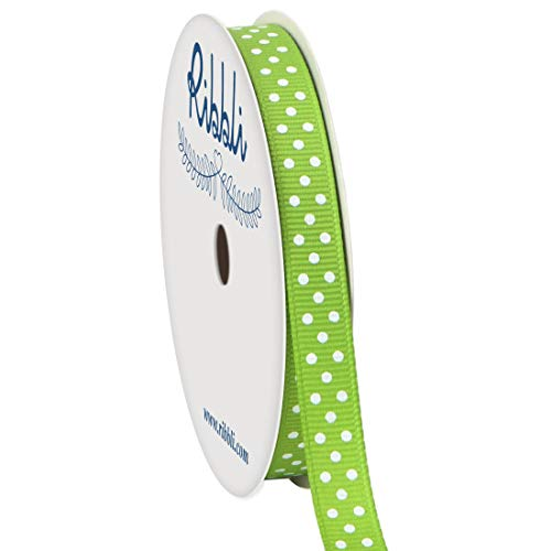 Ribbli Grosgrain Polka Dot Craft Ribbon,3/8 Inch,10-Yard Spool,Apple Green with White Dots,Use for Gift Wrapping,Party Decoration,All Crafting and Sewing