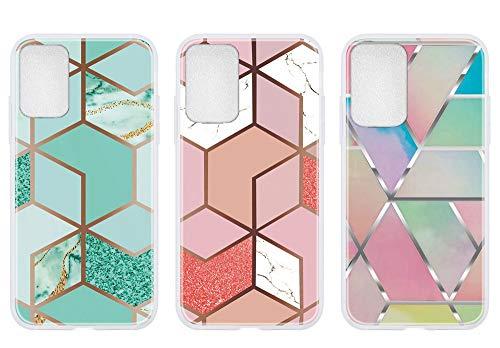 Everainy 3 Paquete Funda Compatible para OPPOA93 4G Silicona Bumper Ultrafina Mármol Motivo con Tapa Goma Case Antigolpes Resistente Protección Cover (Verde/Rosa/Color)