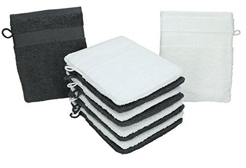 Betz Lot de 10 Gants de Toilette Palermo 100% Coton Taille 16x21 cm Couleur: Blanc & Anthracite