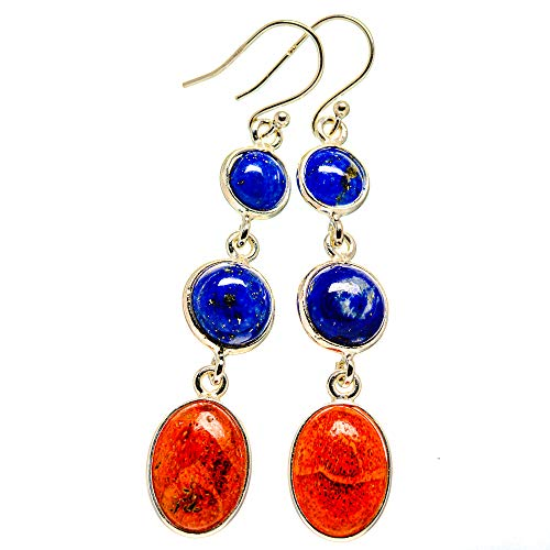 Ana Silver Co Sponge Coral, Lapis Lazuli Earrings 2 1/4' (925 Sterling Silver)