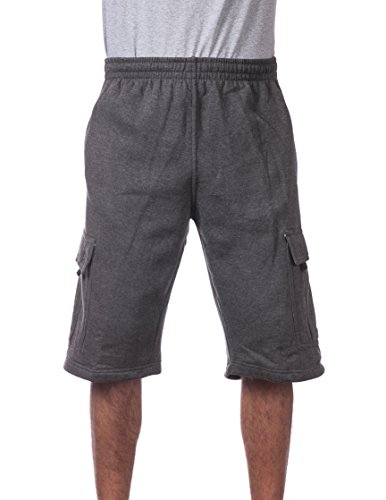 Pro Club Men's Fleece Cargo Short, Charcoal, X-Large