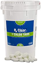 Rx Clear 1-Inch Stabilized Chlorine Tablets | Use As Bactericide, Algaecide, and Disinfectant in Swimming Pools and Spas | Slow Dissolving and UV Protected | 50 Lbs