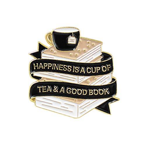 Trendy Fashion Brosche Eine Tasse Tee Eine Reihe von Büchern Kreative Geschmacksleben Brosche Valentinstag Geschenkbuch Band Mode Abzeichen Taschen Kleidung Verzierung Ornamente Ostern Geschenke