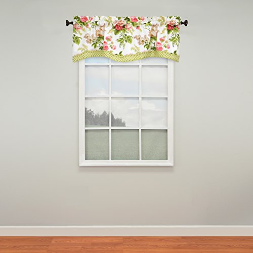 Waverly Emma's Garden Rod Pocket Curtains for Kitchen and Living Room, 52x18, Blossom
