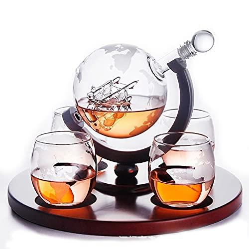 Zxqiang Set De Regalo De Decantador Whisky:Decantador Whisky De 800 Ml con Diseño De Globo Y Barco,Vasos 2x250Ml con Mapa del Mundo Glaseado,Regalo Artesanal para Papá,Roundbase