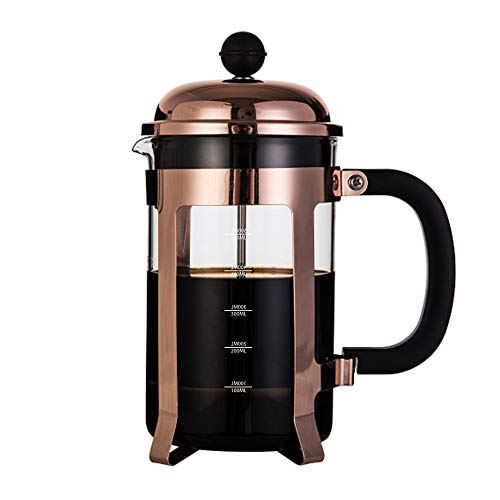 InstaCuppa French Press Coffee Maker with 4 Part Superior Filtration 600 ML, Copper