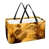 Grand sac à provisions réutilisable avec fond renforcé et poignée (jolis poussins jaunes sur un poulailler)