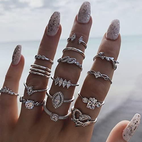 Zoestar Anelli da dito in argento cristallo vintage Anelli a nocche con giunto a cuore Set Anelli impilabili a foglia Opale Gioielli di moda per donne e ragazze (confezione da 15)