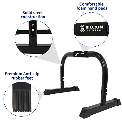 Product Image 2: 5BILLION XL Push Up Stands Parallettes Dip Bars with Non-Slip Foam Handle & Rubber Feet Workout for Handstand Muscle Ups Push Ups Home & Gym Training