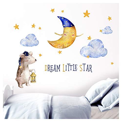 Little Deco DL196 Dream Little Star II Sticker Mural pour Chambre d'enfant Motif Ourson et étoiles - M - 147 x 74 cm (BxH)