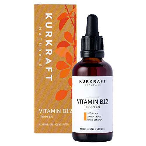 Kurkraft® Vitamin B12 Tropfen (50ml) - Vegan & alkoholfrei - alle 3 natürlichen Formen - beide Aktiv- + Depotform - laborgeprüft - ohne Zusätze - in Deutschland produziert